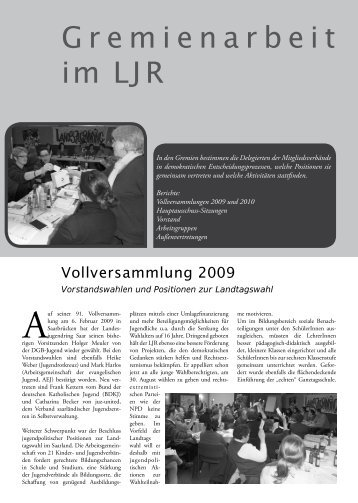Gremienarbeit im LJR - Jugendserver-Saar