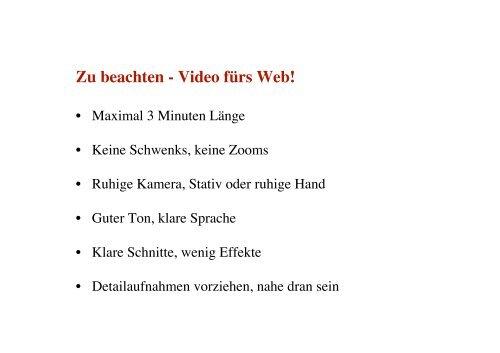 Workshop 6 Youtube, Saarclip und Co. - Jugendserver-Saar