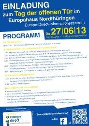 Einladung zum Tag der offenen Tür im Europahaus nordthüringen