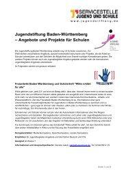 Angebote und Projekt für Schulen der Jugendstiftung Baden