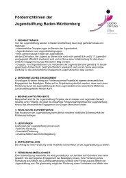 Förderrichtlinien der Jugendstiftung Baden-Württemberg