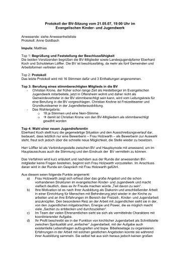 Protokoll der BV-Sitzung vom 21.05.07, 19:00 Uhr im Evangelischen ...
