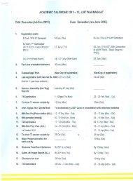 Odd Semester(Jul-Dec 2011) Even Semester(Jan-June 2012) - JUIT
