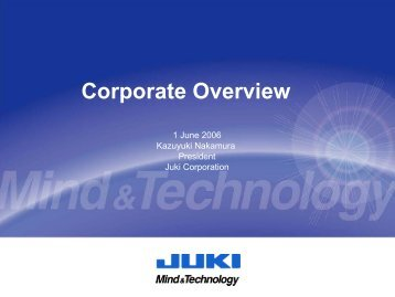Corporate Overview - JUKI