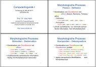 Computerlinguistik I Morphologische Prozesse: Morphologische ...