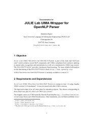 JULIE Lab UIMA Wrapper for OpenNLP Parser - Jena University ...