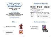 Computerlinguistik I - Jena University Language & Information ...