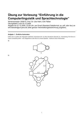 """Übung zur Vorlesung """"Einführung in die Computerlinguistik und ..."""