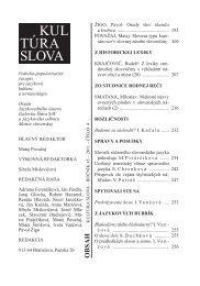 KUL TÚRA SLOVA - Jazykovedný ústav Ľudovíta Štúra - SAV