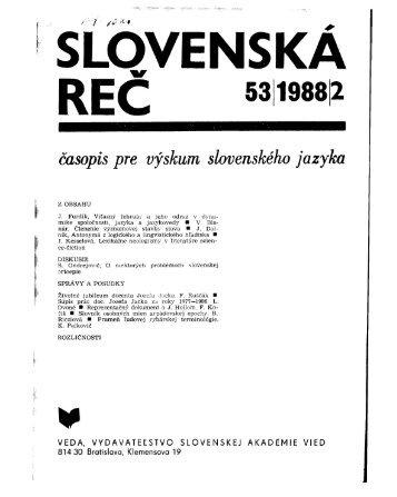 SLOVENSKA REC - Jazykovedný ústav Ľudovíta Štúra - SAV