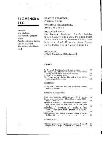 SLOVENSKÁ REC - Jazykovedný ústav Ľudovíta Štúra - SAV