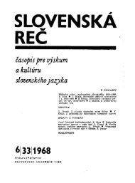 časopis pre výskum a kultúru slovenského jazyka - Jazykovedný ...