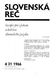 časopis pre výskum a kultúru slovenského jazyka - SAV