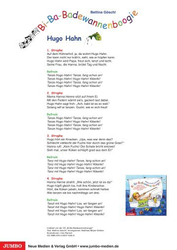 "Liedtexte ""Hugo Hahn"" - JUMBO Neue Medien & Verlag"