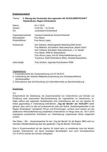 Ergebnisprotokoll Thema: 2. Sitzung des Vorstandes ... - Jumpersnet