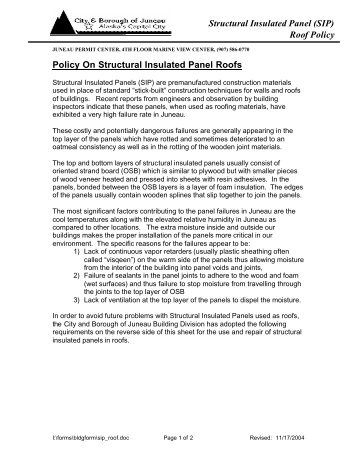 Policy On Structural Insulated Panel Roofs - City and Borough of ...