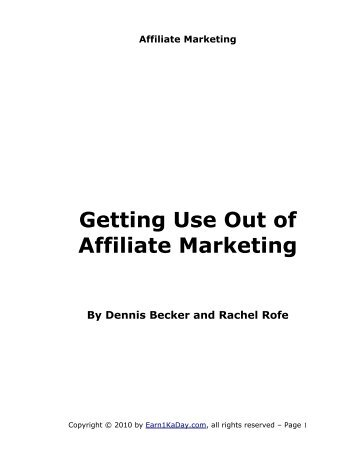 Getting Use Out of Affiliate Marketing