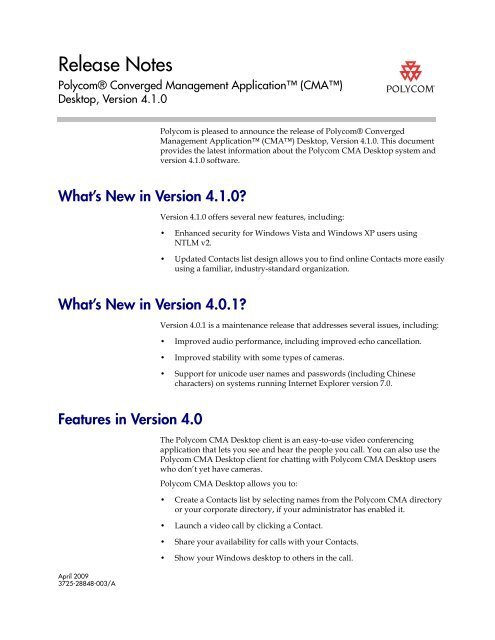 Release Notes for Polycom Converged Management Application
