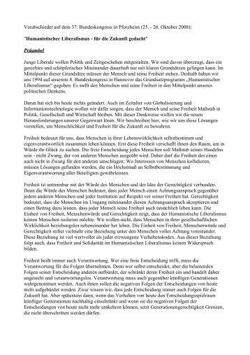 """(25. - 26. Oktober 2008): """"Humanistischer Liberalismus - für die Zuk"""