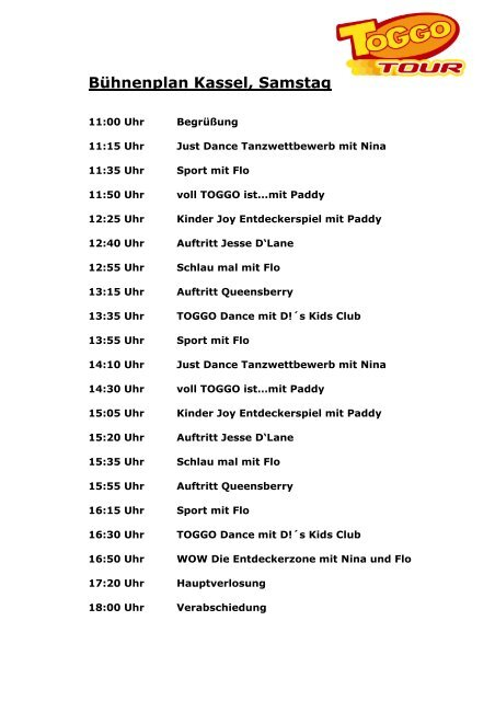 Programm Toggo-Tour Kassel Mai 2012 - Jungfernkopf.info