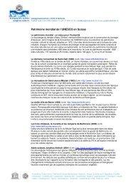 Patrimoine mondial de l'UNESCO en Suisse - UNESCO Welterbe ...