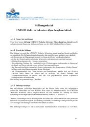 Stiftungsstatut - UNESCO Welterbe Schweizer Alpen Jungfrau-Aletsch
