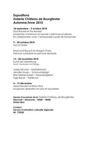 Expositions Galerie Château de Bourglinster Automne ... - Junglinster