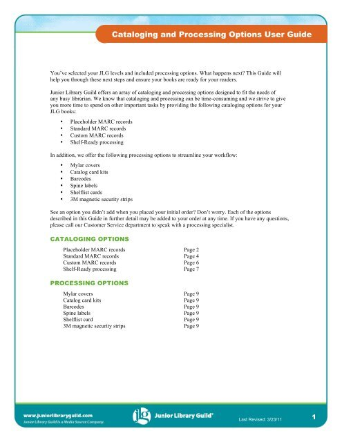 Cataloging and Processing Options User Guide - Junior