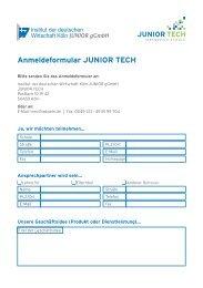 Anmeldeformular JUNIOR TECH