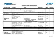 Checkliste Trainingsphase - Junior