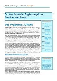 Schülerfirmen im Ergänzungskurs Studium und Beruf Das ... - Junior