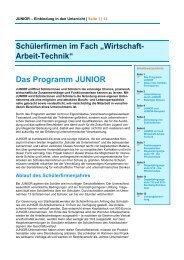 """Schülerfirmen im Fach """"Wirtschaft- Arbeit-Technik"""" Das ... - Junior"""