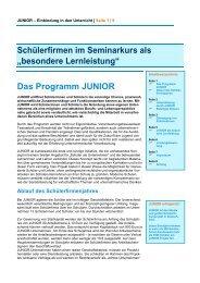 """Schülerfirmen im Seminarkurs als """"besondere Lernleistung ... - Junior"""