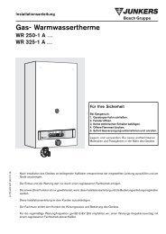 Gas- Warmwassertherme - Junkers Kundendienst