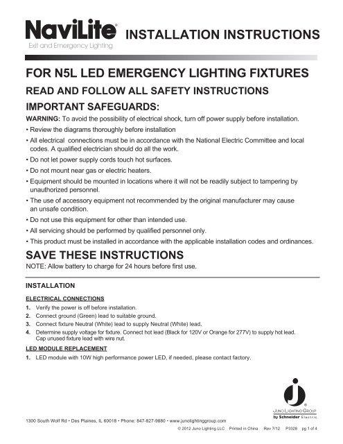 [DIAGRAM_38IU]  INSTALLATION INSTRUCTIONS - Juno Lighting Group | Juno Transformer Wiring Diagram |  | Yumpu