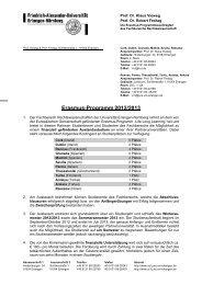 Erasmus-Programm 2012/2013 - Fachbereich Rechtswissenschaft