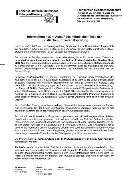 Informationen zum Ablauf des mündlichen Teils der Juristischen ...