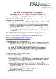 PROMOS Stipendien für Auslandsaufenthalte 2013 - Fachbereich ...