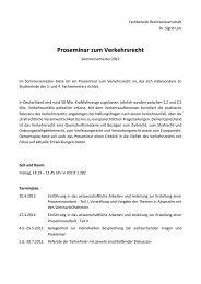Proseminar zum Verkehrsrecht - Fachbereich Rechtswissenschaft