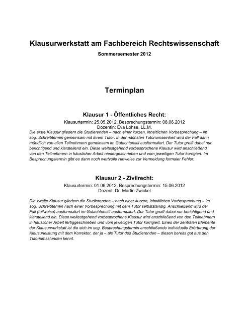 Klausurwerkstatt am Fachbereich Rechtswissenschaft Terminplan