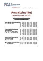 Anwaltsinstitut - Fachbereich Rechtswissenschaft - Friedrich ...