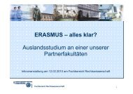 ERASMUS – alles klar? - Fachbereich Rechtswissenschaft
