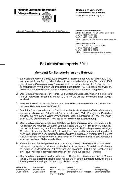 Merkblatt für Betreuer und Betreuerinnen - Fachbereich ...