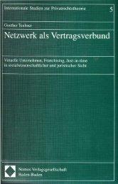 Netzwerk als Vertragsverbund - Fachbereich Rechtswissenschaft ...