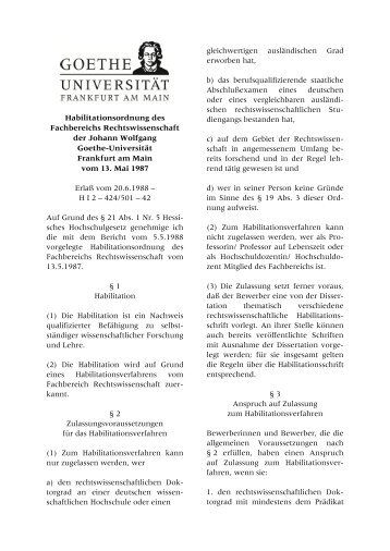 Habilitationsordnung - Fachbereich Rechtswissenschaft der Goethe ...