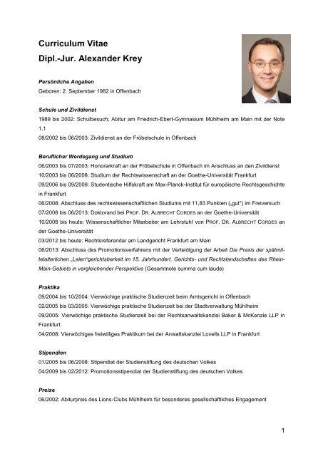 Alexander Kreytabellarischer Lebenslauf Fachbereich