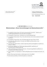 """Blockseminar """"Neue Entwicklungen im Datenschutzrecht"""" - Goethe ..."""