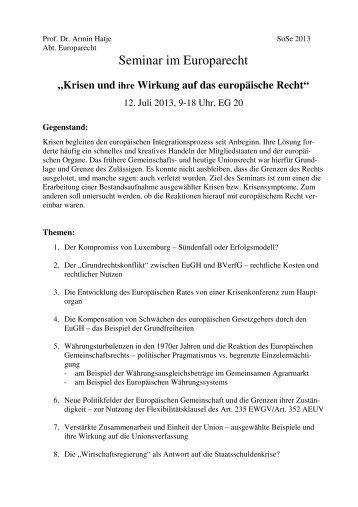 Seminar im Europarecht
