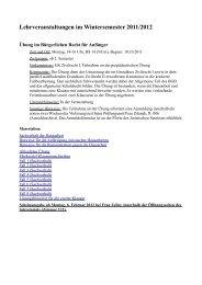 Lehrveranstaltungen im Wintersemester 2011/2012