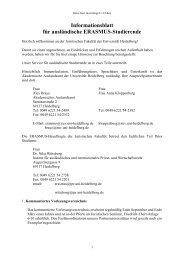 Informationsblatt für ausländische ERASMUS-Studierende